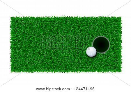illustration of golf ball lying near hole on green grass