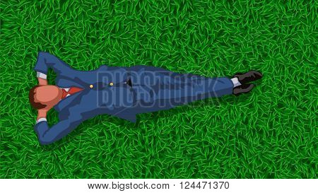 illustration of lying and resting businessman  in suit on grass