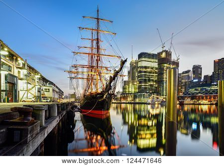 SYDNEY, AUSTRALIA - April 11, 2016 : Sunset of Darling Harbour, adjacent to the city centre of Sydney and also a recreational place in Sydney central business district