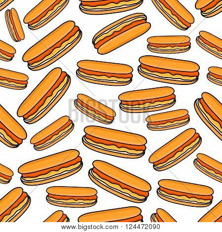 Hot dogs seamless pattern of fast food sandwiches with sausages served in sliced buns with mustard garnish on white background. Takeaway menu and street food themes design