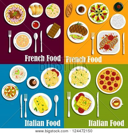 French and italian cuisine popular dishes with flat icons of pizza, pasta, ratatouille stew, sausage, cream soup, risotto with shrimps, croissants, beef steak, hot sandwich, ravioli, meringue cakes and chocolate