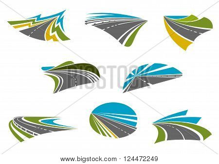 Roads isolated icons for car road trip, traveling and vacation design with coast, mountain and rural highways with colorful nature landscapes