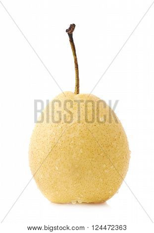 Yellow pear fruit covered with the water drops isolated over the white background