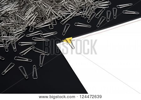 Paper clips Paperclips with paper note on black background