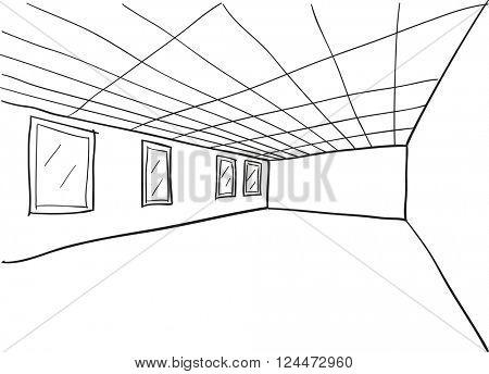 Simple Room Perspective Doodle Sketch