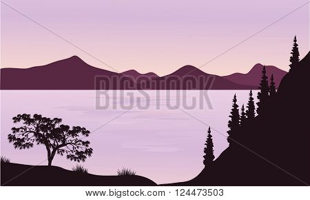Silhouette of sea and mountain with purple background