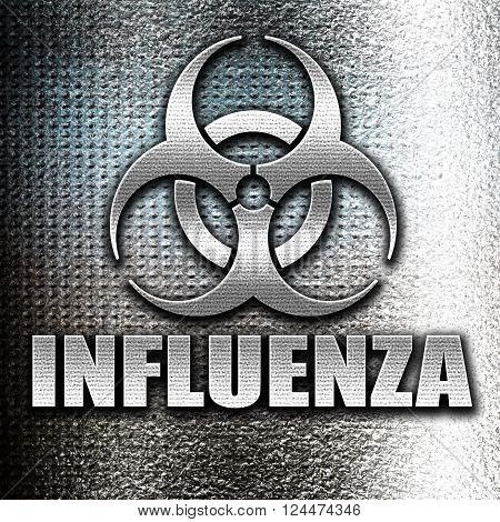 Grunge metal Influenza virus concept background with some soft smooth lines