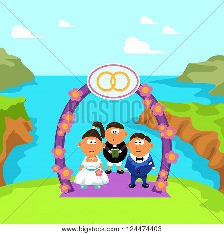 wedding ceremony with priest on the edge
