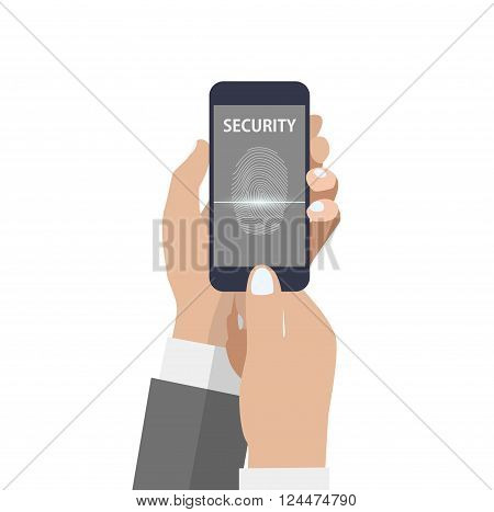 Hand holding smartphone with scanning fingerprint on the screen