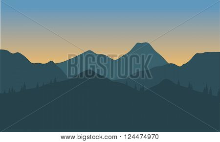 Silhouette of hills with gray background at morning