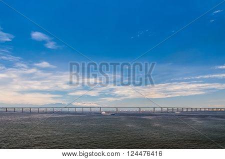 Rio Niteroi Bridge in Guanabara Bay Rio de Janeiro Brazil.