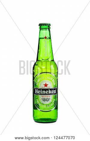 SYDNEY, AUSTRALIA - August 16, 2016: Bottle of Heineken Lager Beer . Heineken Lager Beer is a pale lager beer produced by the Dutch brewing company Heineken International