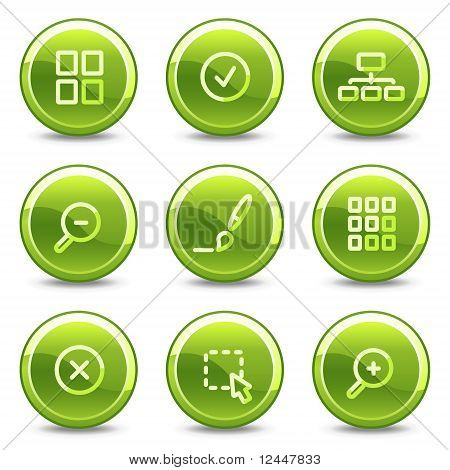 Image Viewer Icons, Green Circle Glossy Buttons