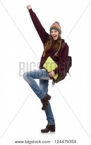 Smiling student with backpack and book isolated on white