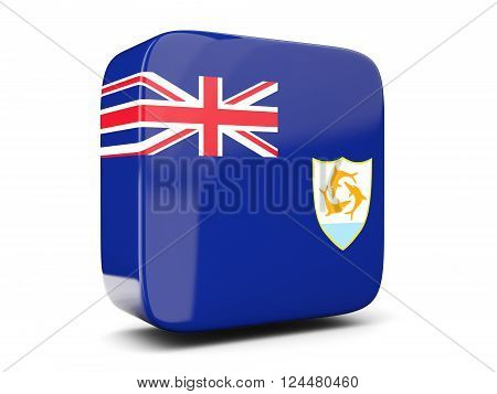 Square Icon With Flag Of Anguilla Square. 3D Illustration