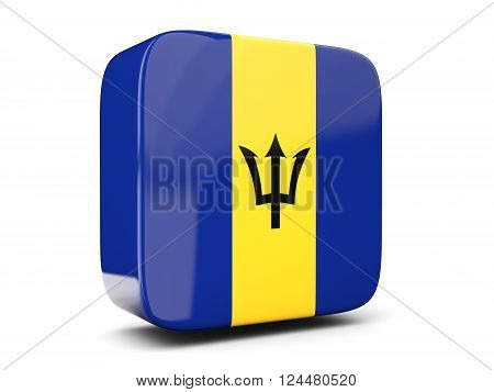 Square Icon With Flag Of Barbados Square. 3D Illustration