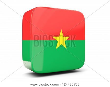 Square Icon With Flag Of Burkina Faso Square. 3D Illustration