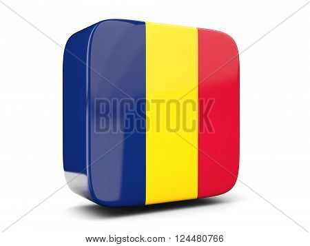 Square Icon With Flag Of Chad Square. 3D Illustration