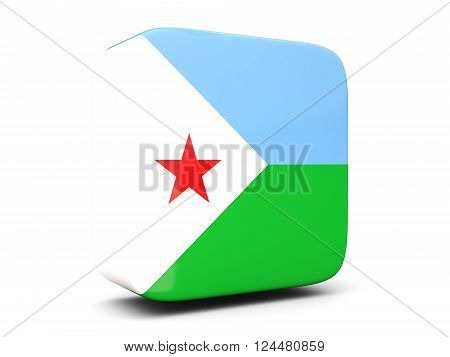 Square Icon With Flag Of Djibouti Square. 3D Illustration