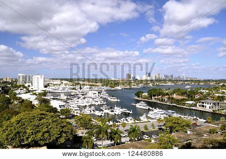 Fort Lauderdale city and intercoastal waterway, in Florida.
