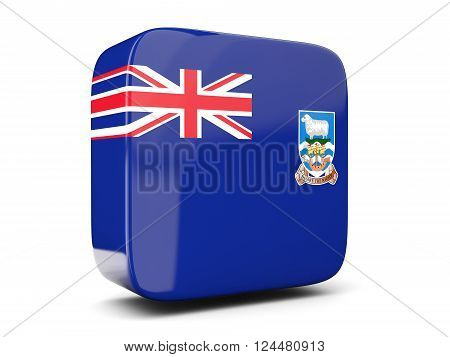 Square Icon With Flag Of Falkland Islands Square. 3D Illustration