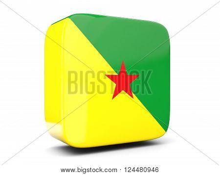Square Icon With Flag Of French Guiana Square. 3D Illustration