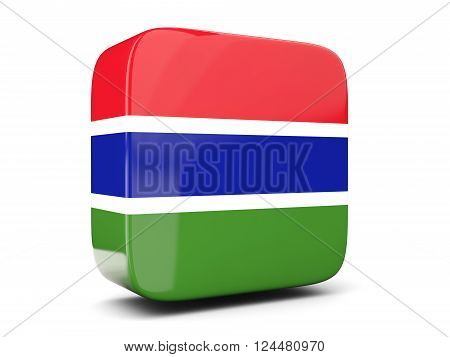 Square Icon With Flag Of Gambia Square. 3D Illustration