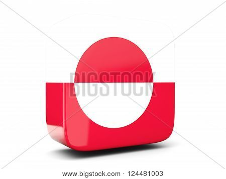 Square Icon With Flag Of Greenland Square. 3D Illustration