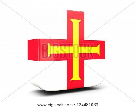 Square Icon With Flag Of Guernsey Square. 3D Illustration