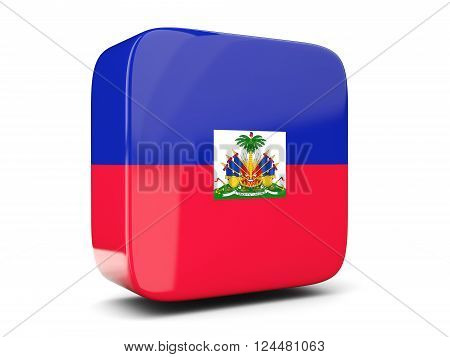 Square Icon With Flag Of Haiti Square. 3D Illustration
