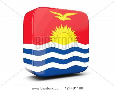Square Icon With Flag Of Kiribati Square. 3D Illustration