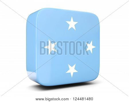 Square Icon With Flag Of Micronesia Square. 3D Illustration