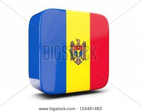 Square Icon With Flag Of Moldova Square. 3D Illustration