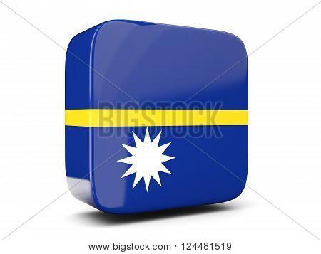 Square Icon With Flag Of Nauru Square. 3D Illustration