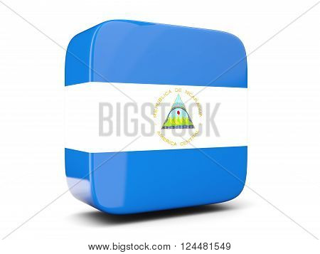 Square Icon With Flag Of Nicaragua Square. 3D Illustration