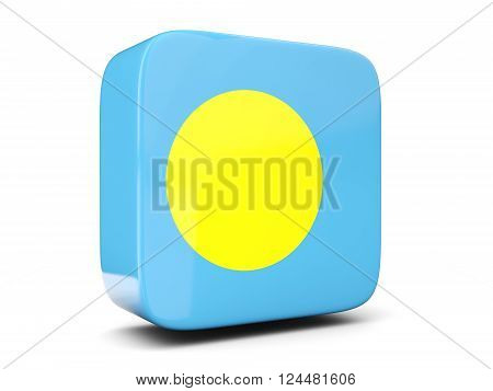Square Icon With Flag Of Palau Square. 3D Illustration