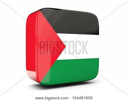 Square Icon With Flag Of Palestinian Territory Square. 3D Illustration