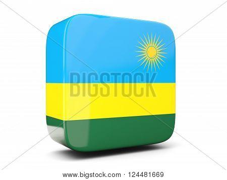 Square Icon With Flag Of Rwanda Square. 3D Illustration