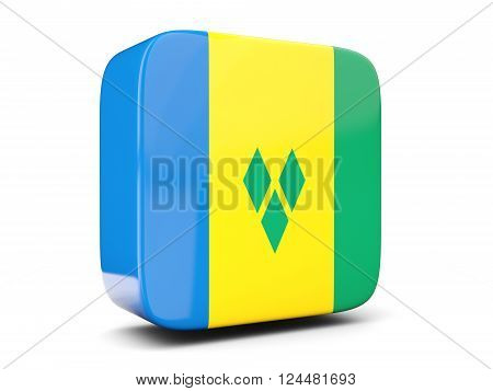 Square Icon With Flag Of Saint Vincent And The Grenadines Square. 3D Illustration