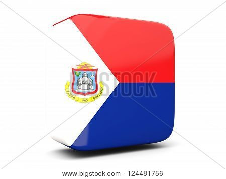 Square Icon With Flag Of Sint Maarten Square. 3D Illustration