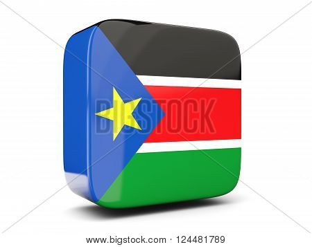Square Icon With Flag Of South Sudan Square. 3D Illustration