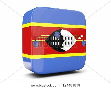 Square Icon With Flag Of Swaziland Square. 3D Illustration