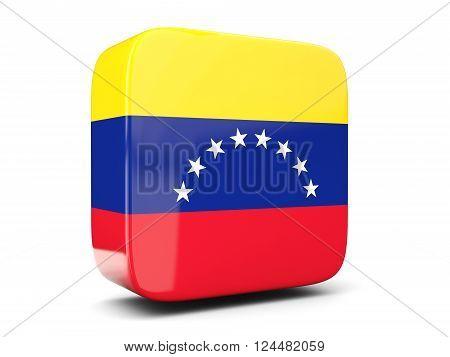 Square Icon With Flag Of Venezuela Square. 3D Illustration