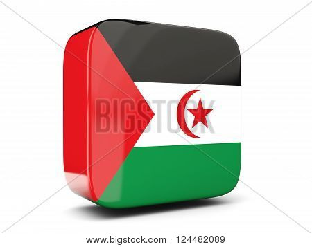 Square Icon With Flag Of Western Sahara Square. 3D Illustration