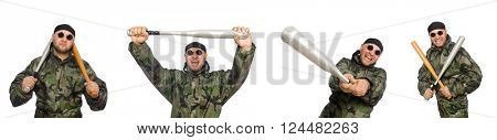 Soldier with baseball bat on white