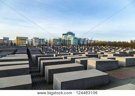 BERLIN, GERMANY - APR 2, 2016: View of Jewish Holocaust Memorial, Berlin, Germany