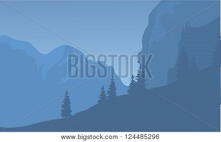 Silhouette of cliff and forest at the night
