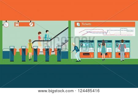 Subway train station platform with people buying train ticket Train ticket vending machines Railway Map Entrance of railway station transportation vector illustration.