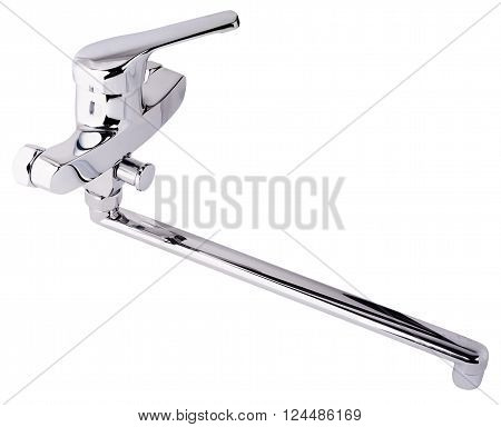 Nickeling bath room faucet isolated on the white