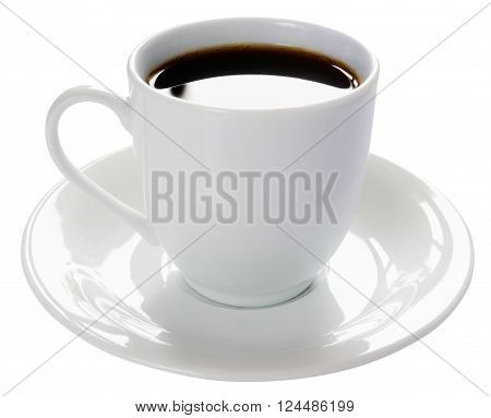Porcelain cup of coffee and saucer isolated on the white background